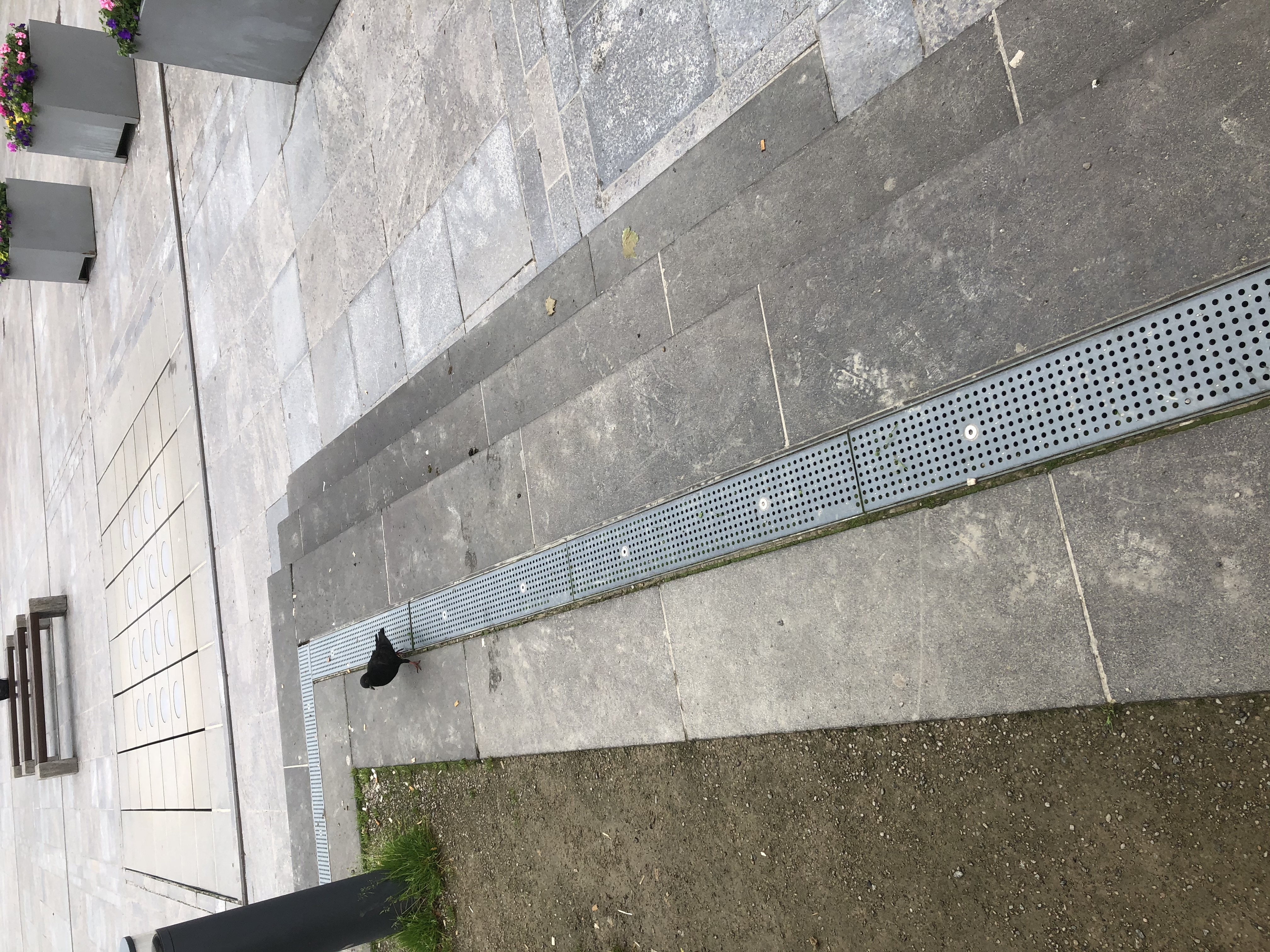 Originalansicht der Podesttreppe auf dem Uniplatz Fulda